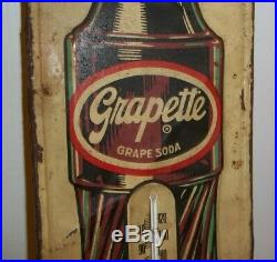 Htf Vintage Grapette Soda Advertising Wall Thermometer Metal Store Sign Display