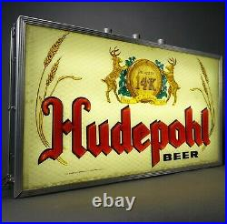 Hudepohl Vintage Lighted Beer Sign Metal Cincinnati 40s 50s 60s Not Porcelain