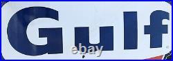 Huge! 1966 Vintage Porcelain & Metal Gas & Oil Station GULF SIGN 79x72 The Big1