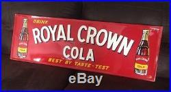 INCREDIBLE Vintage Royal Crown Cola Metal Sign 1951 LARGE SIZE 18 X 54