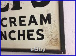Isalys antique vintage large metal dairy sign ice cream wood frame