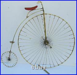 JERE Rare GOLD color Metal Bike Penny Farthing Vintage Wall Sculpture Signed