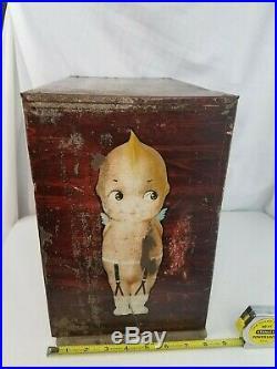 KEWPIE Garter store counter Display Cabinet 1920s Tin sign Original Rare