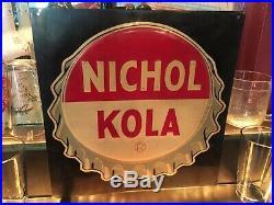 LARGE SCARCE NOS Vintage c1940 Nichol Kola 5c Soda Pop Gas Station Metal Sign