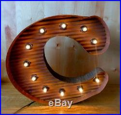 LARGE VINTAGE STYLE LIGHT UP MARQUEE LETTER C, 24 TALL industrial rustic sign