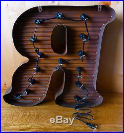 LG BROWN VINTAGE STYLE LIGHT UP MARQUEE LETTER R, 24 TALL novelty metal sign