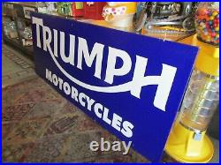 LG'' Vintage Triumph Motorcycle Metal Dealer Sign. 96'' X 40'' X 1'