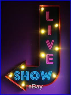 LIVE SHOW arrow light del sign neon strip club retro vintage soho london VAC205