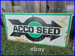 LOT of 3 VINTAGE ACCO SEED METAL SIGN GOOD SHAPE FEED& SEED ADVERTISING 12x 24
