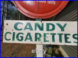Large 2 Sided Vintage Metal Coke Sign With Candy And Cigarette Signs