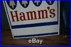 Large Hamms Beer Sign Vintage Embossed Metal Advertising Pub Bar Stout Sign