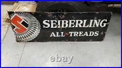 Large Vintage 1930s Seiberling All-Treads Tires Gas Oil 72 Porcelain Metal Sign