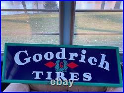 Large Vintage 1940's Goodrich Tires & Batteries Gas Oil 60 Porcelain Metal Sign