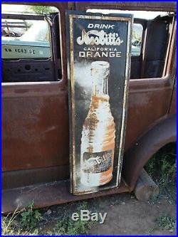 Large Vintage 1940's Nesbitt's Orange Soda Pop 49 Embossed Metal Sign
