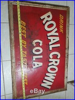 Large Vintage 1940's RC Royal Crown Cola Soda Pop Bottle 34 Embossed Metal Sign