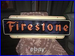 Large Vintage 1947 Firestone Tires Gas Station 48 Embossed Metal Sign NICE