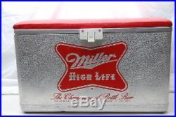 Large Vintage 1950's Miller High Life Beer Picnic Cooler 22 Embossed Metal Sign