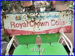Large Vintage 1950's RC Royal Crown Cola Soda sign Metal Original tri color 54