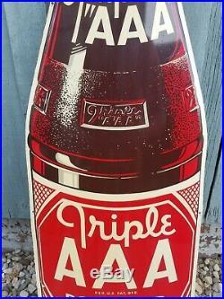 Large Vintage 1950's Triple AAA Root Beer Soda Pop 44 Embossed Metal Sign