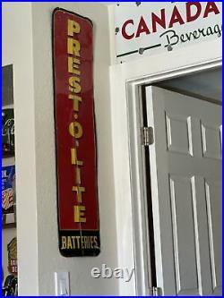 Large Vintage 50's Prestolite Vintage Service Station Battery Metal Sign
