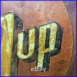 Large Vintage 7UP Americana Advertising Store SEVEN UP Embossed Metal Sign 54