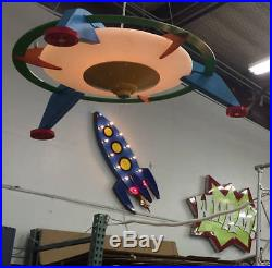 Large Vintage Industrial Sign Light Rocketship Metal Art Sculpture Space Craft