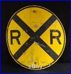 Large Vintage Metal Painted Round Railroad Crossing Sign Nice