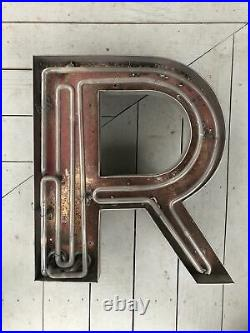 Large Vintage Neon Metal Letter R Greenpoint Brooklyn NY 1920s (20h x 17w)