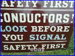 Large Vintage Old Metal Enamel Bus Conductors Depot Safety Sign Sign 113cm x 87
