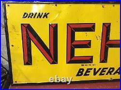 Large Vintage Original NEHI Beverages Embossed Tin Metal Sign