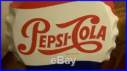 Large Vintage Pepsi Cola Soda Pop Bottle Cap 27 Embossed Metal Sign By Stout