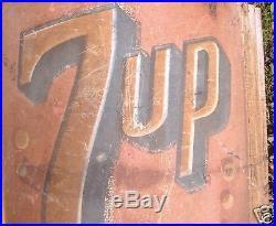 Large Vintage Rare 7 Up Soda Metal Advertising Sign