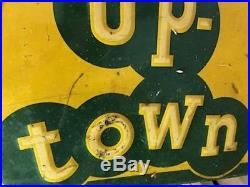 Large Vintage Uptown Soda Pop Sign Lemon Lime Tin Embossed Advertising Metal