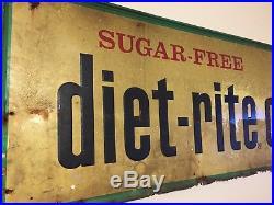 Large Vintage c. 1960 Diet Rite Cola RC Soda Pop Gas Oil 54 Embossed Metal Sign