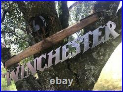 Large Western Winchester metal sign farm yoke rustic