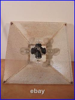 Luminaire Vintage 60 Rare Plafonnier Moderniste Sign US Métal Perfo DLG Matégot