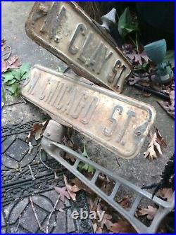 Metal Street Corner Intersection Sign Frame. VINTAGE Chicago Street Signs Rare