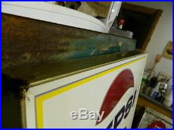 NOS Large Vintage 1970 Pepsi Cola Soda Pop Gas Station 45x32 Embossed Metal Sign