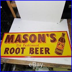 NOS MASON'S OLD FASHIONED ROOT BEER VINTAGE ADVERTISING Sign Metal SUPER
