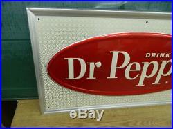 NOS Vintage 60's Dr Pepper Soda Pop Gas Station18X32 Embossed Metal Sign NOS
