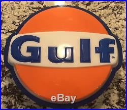 NOS Vintage GULF OIL GAS SIGN LIGHT Metal Frame