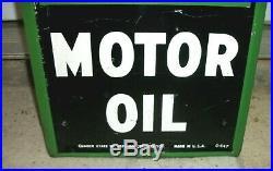 NOS Vintage Porcelain QUAKER STATE MOTOR OIL SIGN Gas Metal 72 X 12