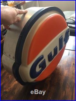 Nice Vintage 1980s GULF SIGN WITH LIGHT Original METAL FRAME Kolux Polycarb