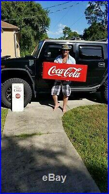 No ReserveLarge Vintage 1950's Coca Cola Soda Pop 43 Porcelain Metal Sled Sign