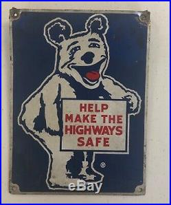 OLD ORIGINAL 1950's Vintage BEAR ALIGNMENT Old Gas & Oil Station Metal Sign