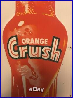 ORIGINAL 1950s Vintage Orange Crush Embossed LARGE Metal Sign Very Rare 54x18