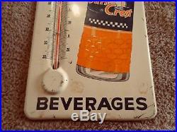 Old Vintage 1950's Sun Crest Orange Soda Pop Bottle 14 Metal Thermometer Sign