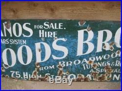 Old Vintage Antique Enamel Sign Advert Surrey Godalming Woods Pianos Shop Metal