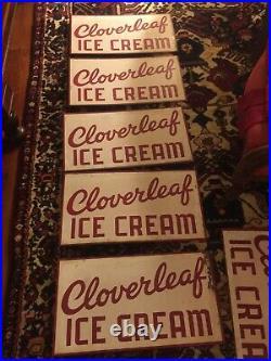 Old Vintage Cloverleaf Ice Cream Metal Sign Rare Original