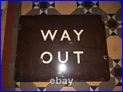 Old Vintage GWR Railway Station WAY OUT Enamel Tray Sign Rail Metal Track